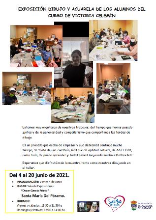 Cartel Exposición dibujos y acuarela de los alumnos de Victoria Celemín